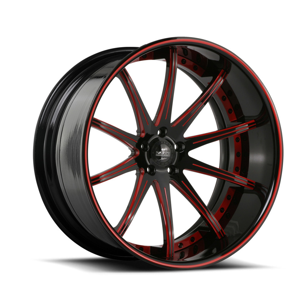 Savini Forged SV41c Black and Red XC Wheels