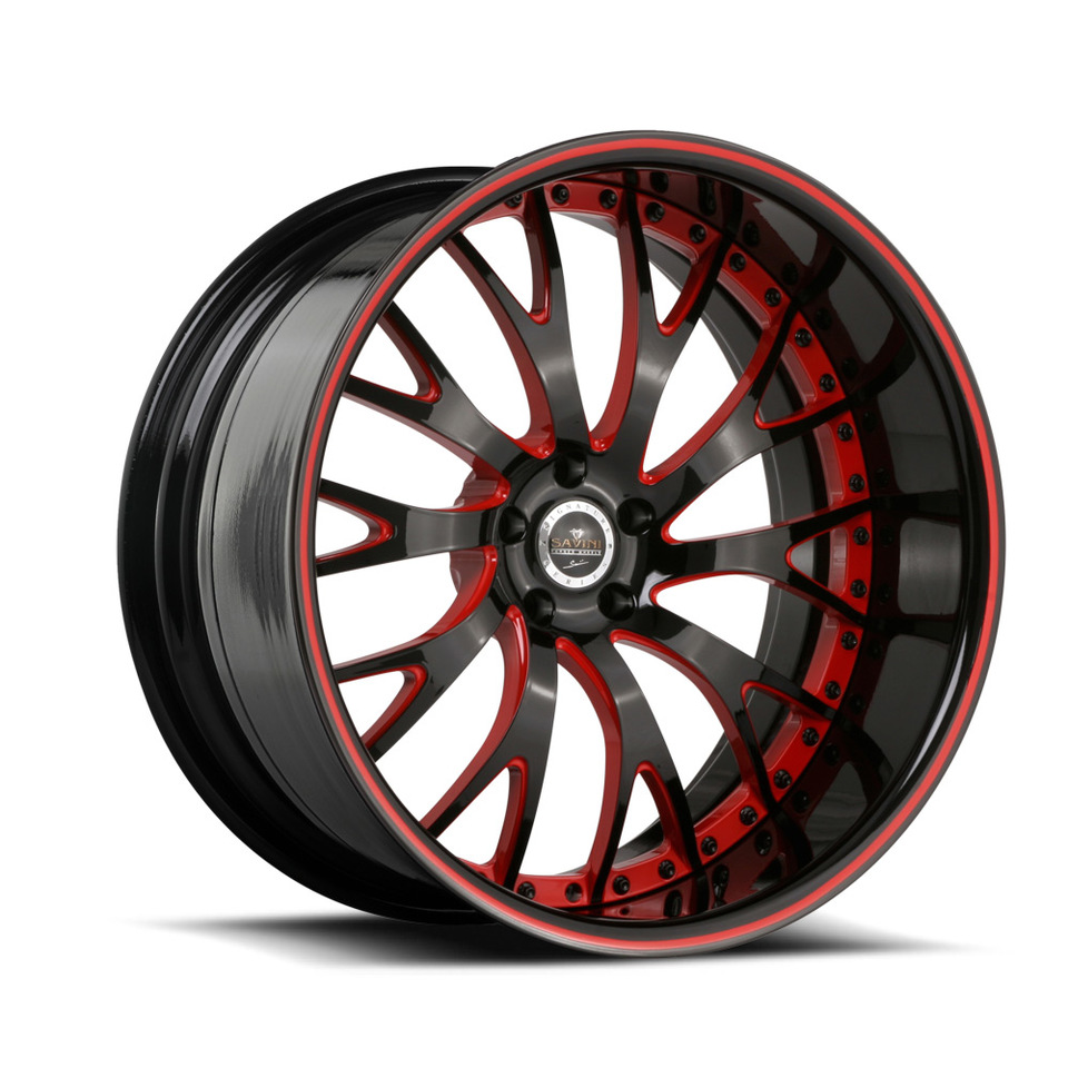 Savini Forged SV42 Black and Red Signature Wheels