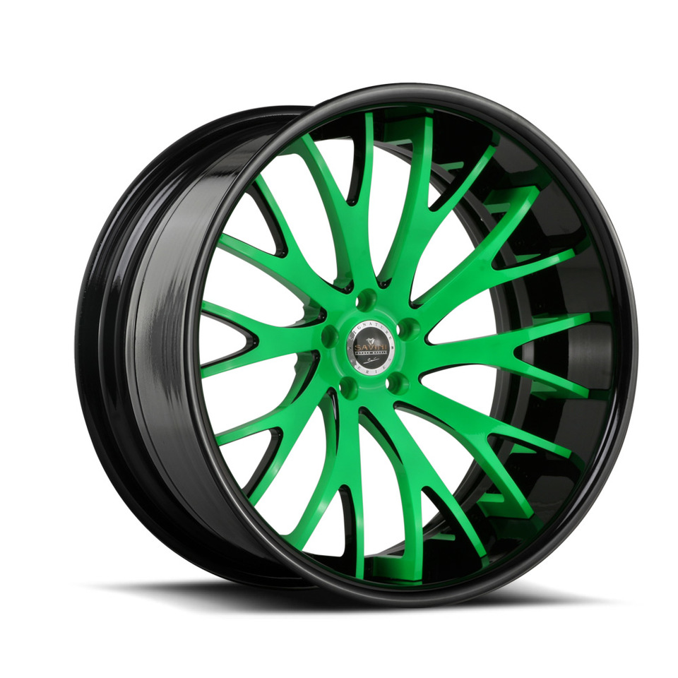 Savini Forged SV42c Black and Neon Green XC Wheels