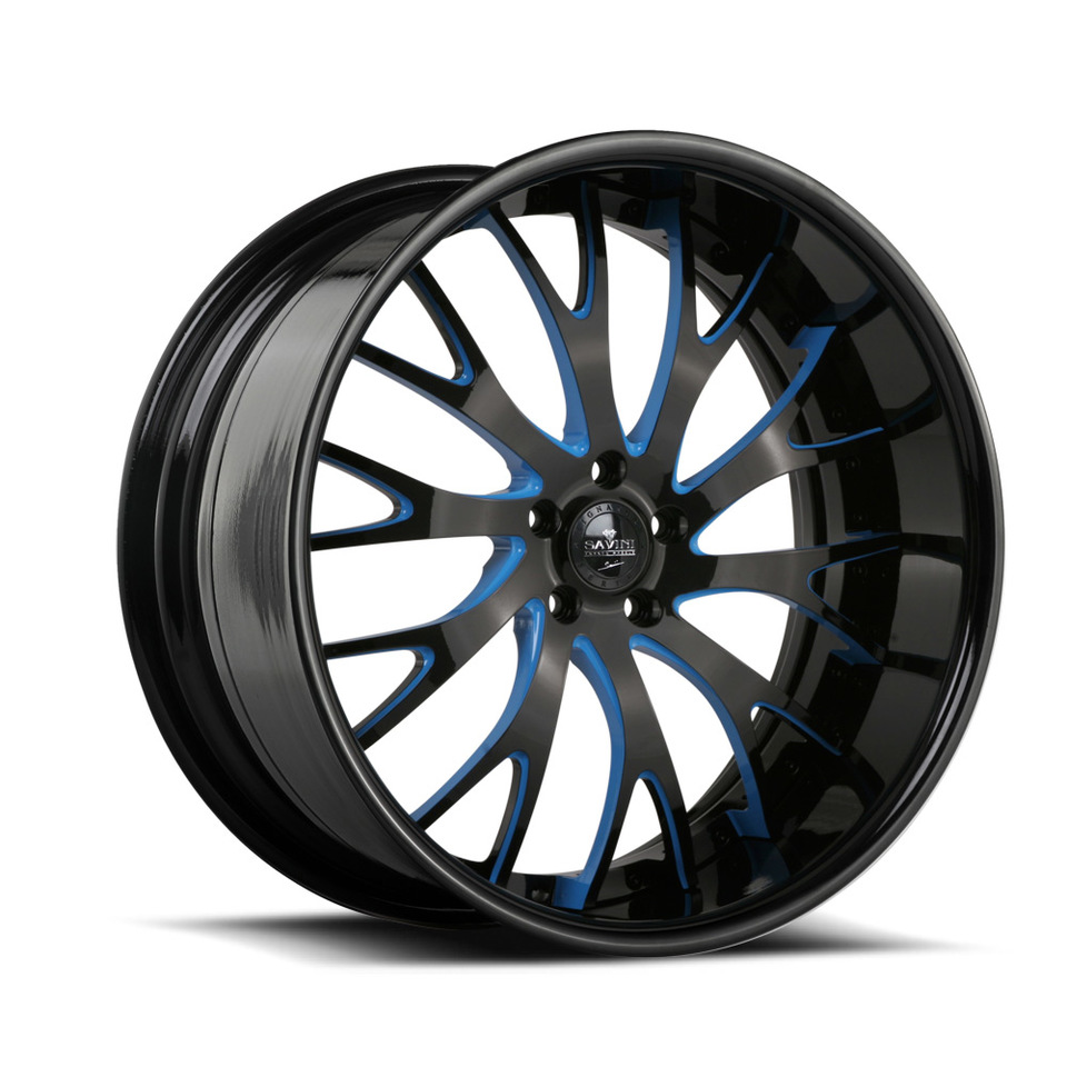 Savini Forged SV42s Blue and Black XLT Wheels
