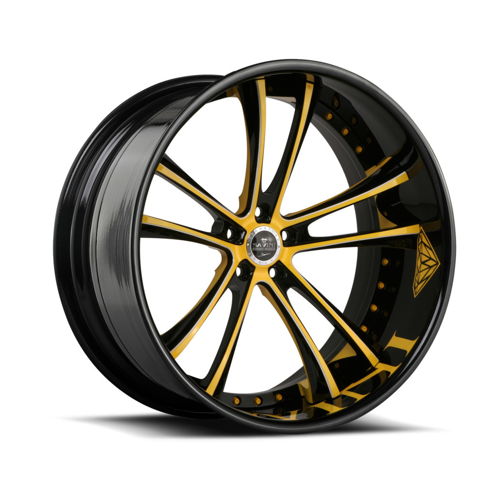 Savini Forged SV43c Black and Yellow XC Wheels