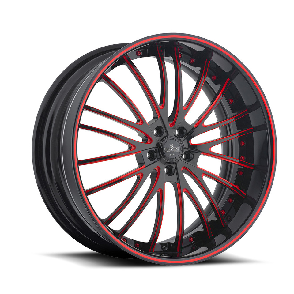 Savini Forged SV45s Black and Red XLT Wheels