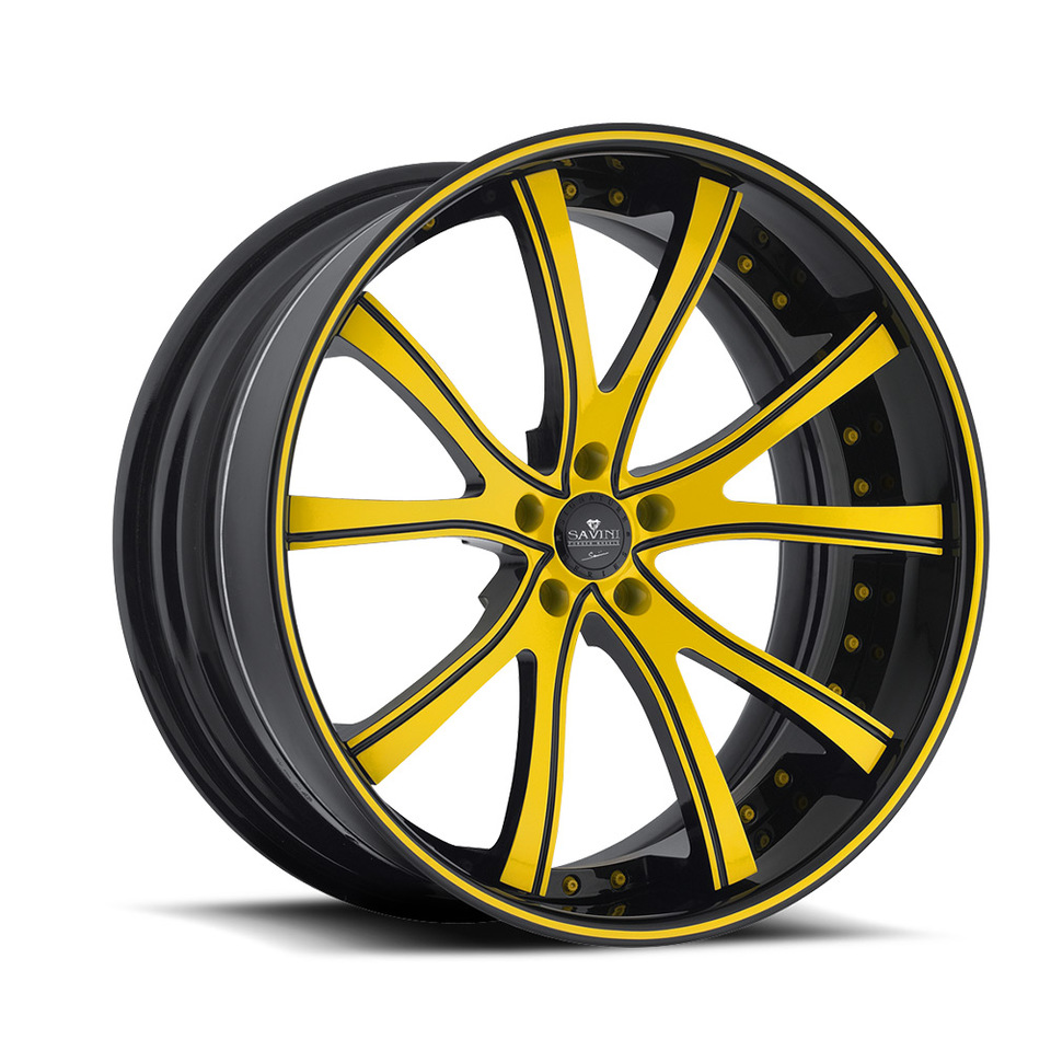 Savini Forged SV46c Black and Yellow XC Wheels