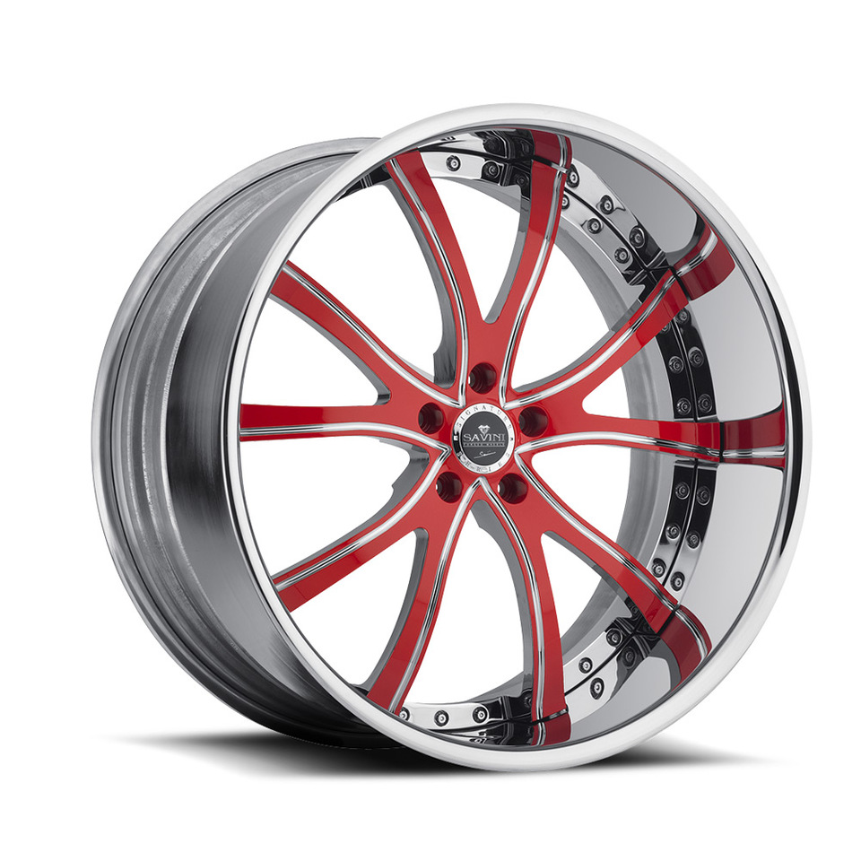 Savini Forged SV46s Red and Chrome XLT Wheels