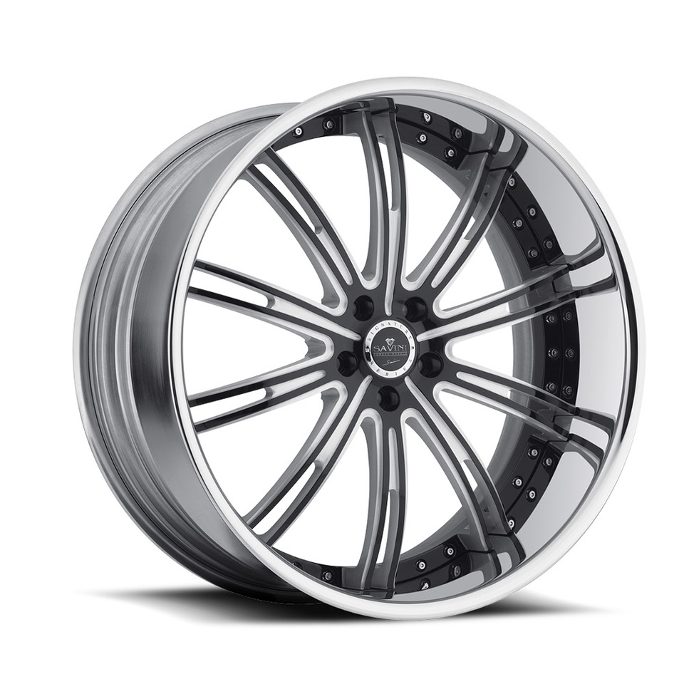 Savini Forged SV47s Black White and Chrome XLT Wheels