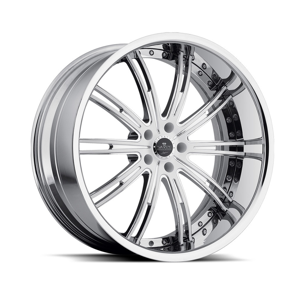 Savini Forged SV47s White and Chrome XLT Wheels