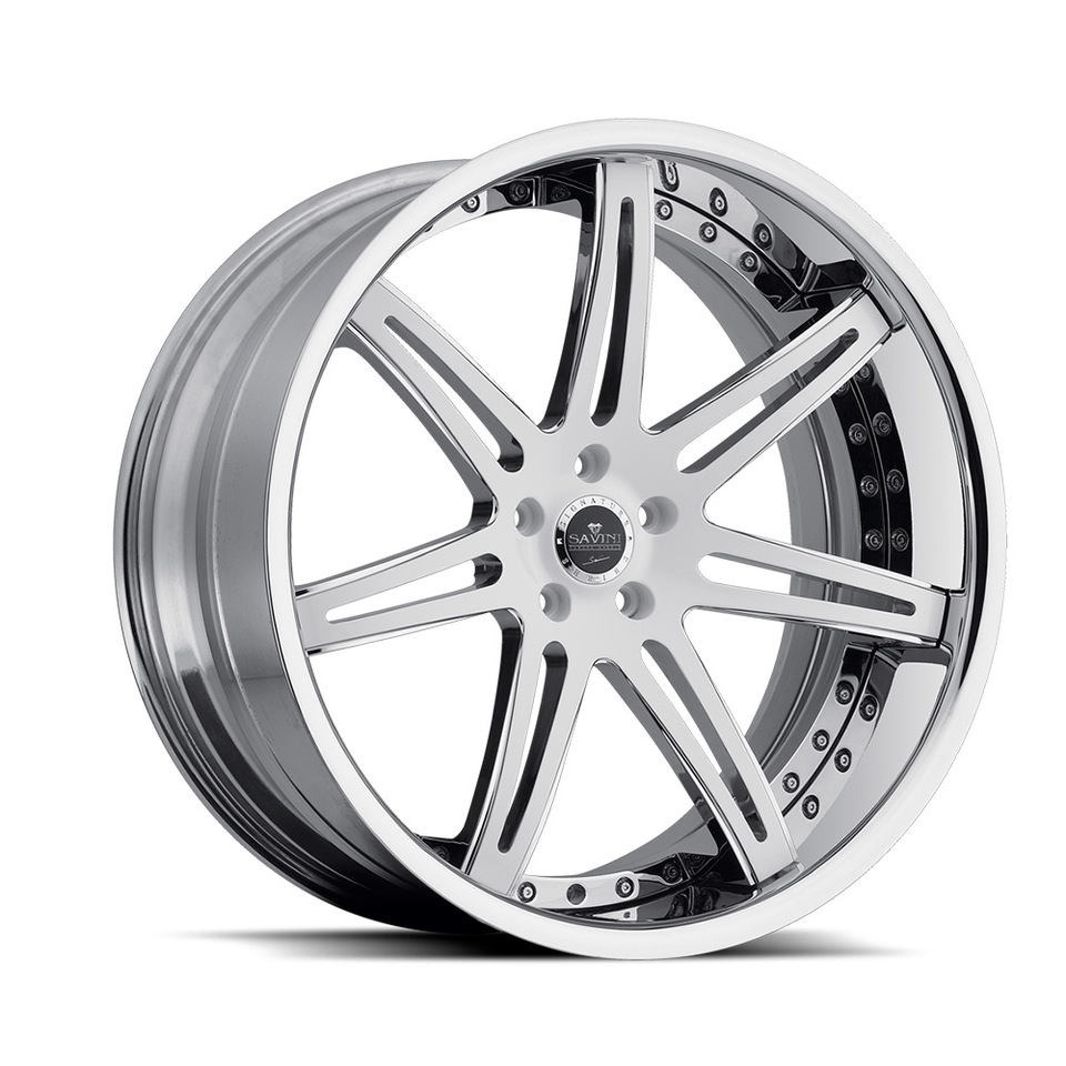 Savini Forged SV48c White and Chrome XC Wheels