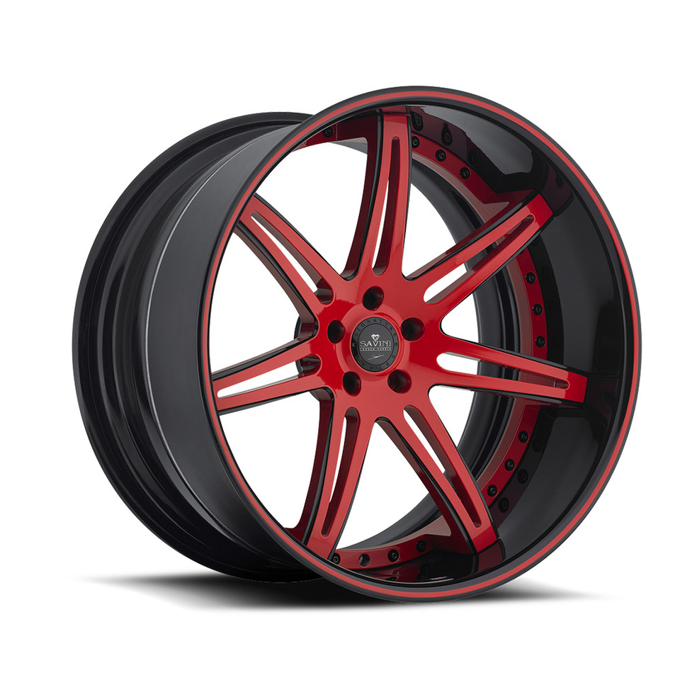 Savini Forged SV48c Black and Red XC Wheels