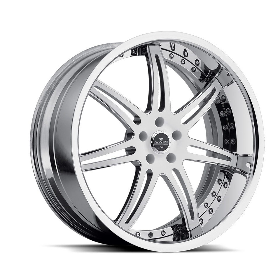 Savini Forged SV48s White and Chrome XLT Wheels