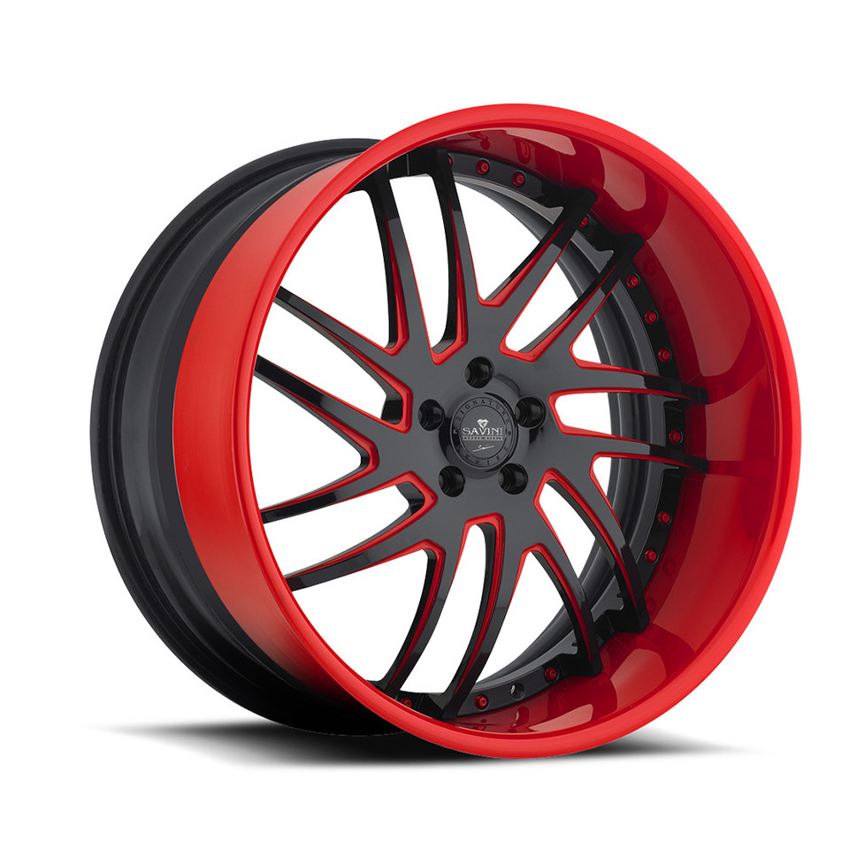 Savini Forged SV49s Red and Black XLT Wheels