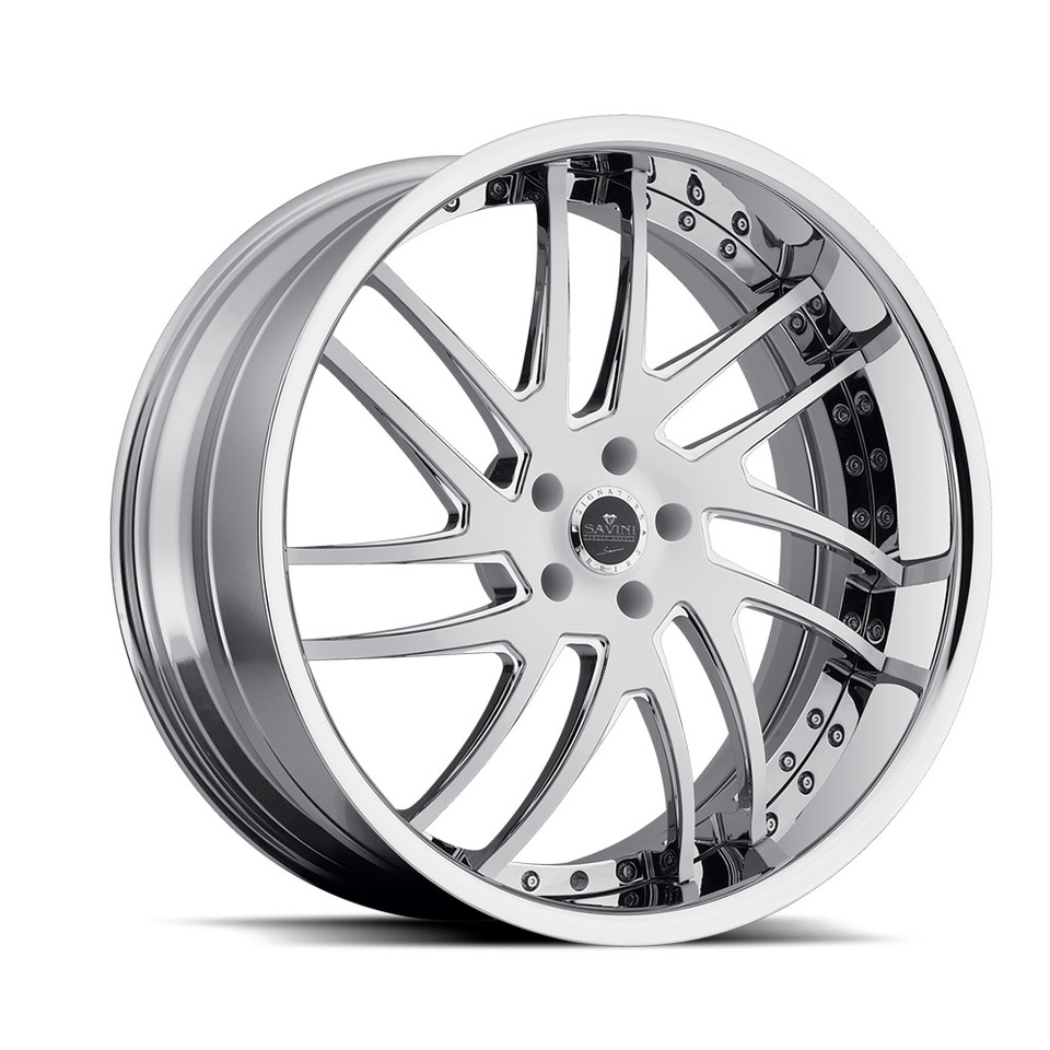 Savini Forged SV49s White and Chrome XLT Wheels