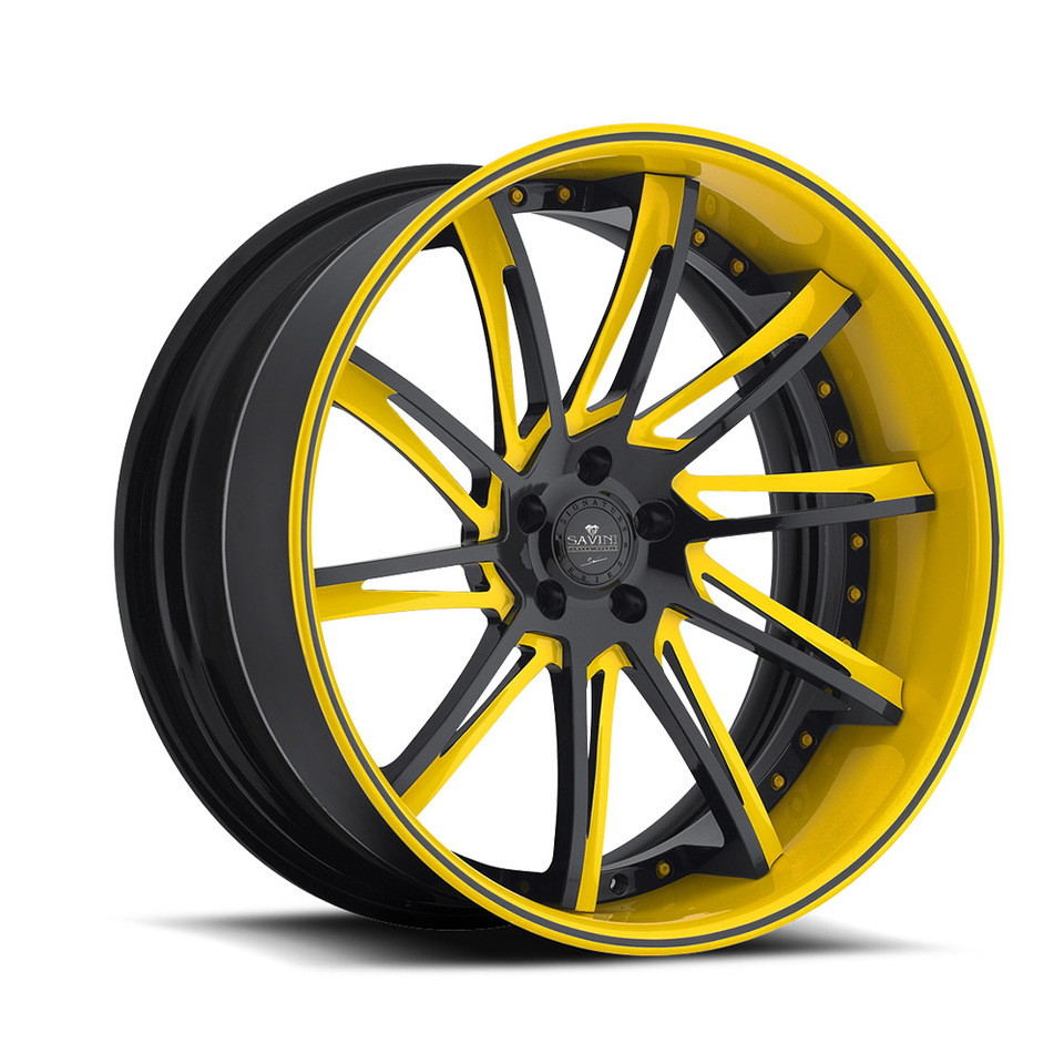 Savini Forged SV50c Black and Yellow XC Wheels