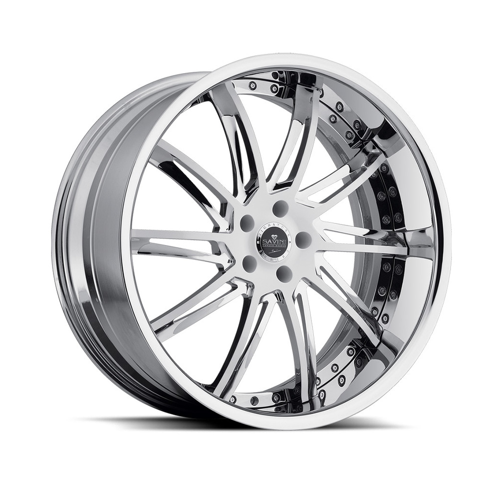 Savini Forged SV50c White Chrome XLT Wheels