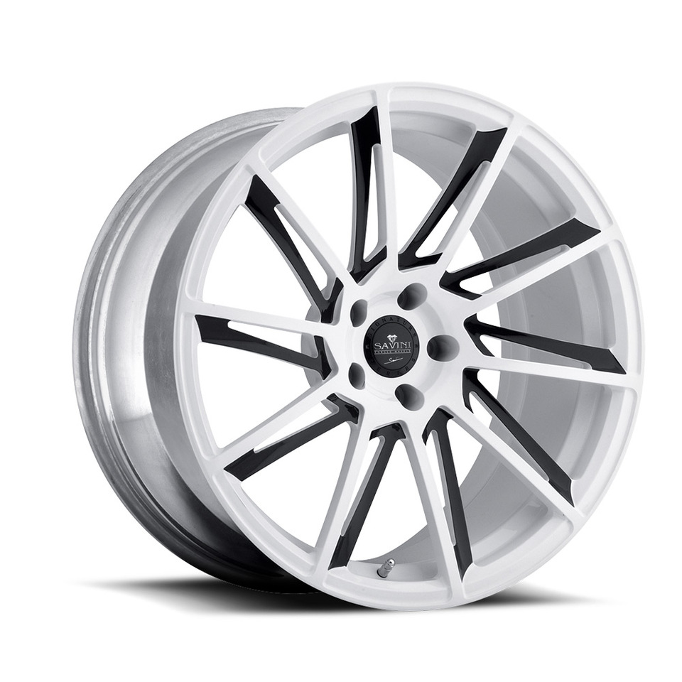 Savini Forged SV50m White and Black Mono Wheels