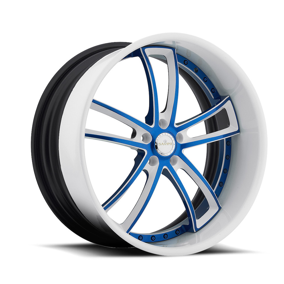 Savini Forged SV51s Blue and White Wheels