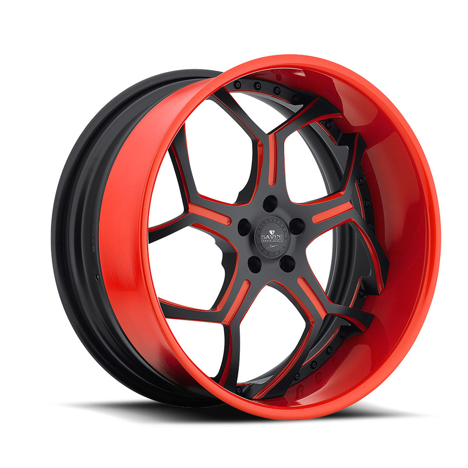 Savini Forged SV53s Black and Red XLT Wheels