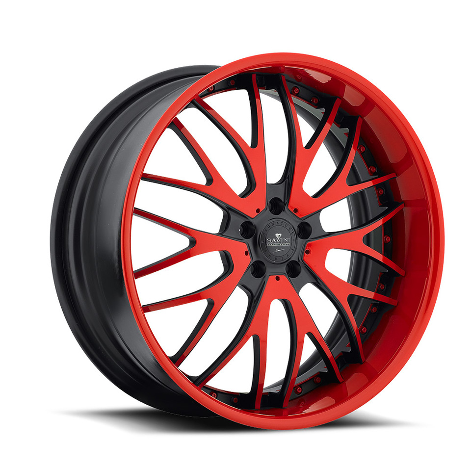 Savini Forged SV54s Black and Red XLT Wheels