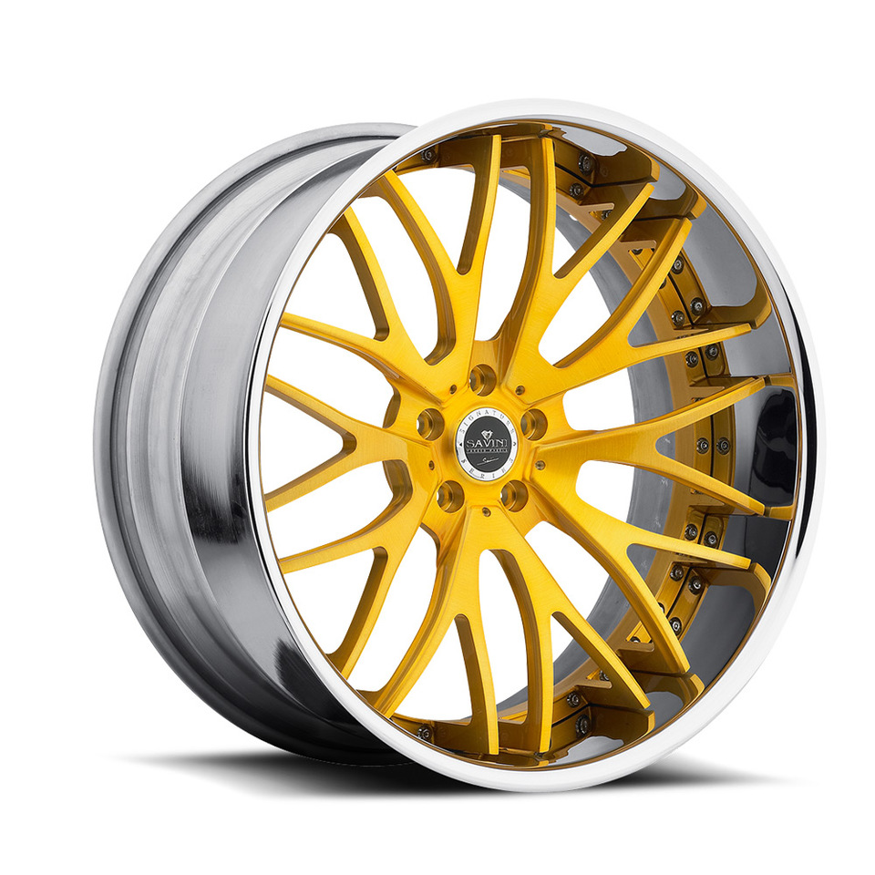 Savini Forged SV54c Gold and Chrome XC Wheels