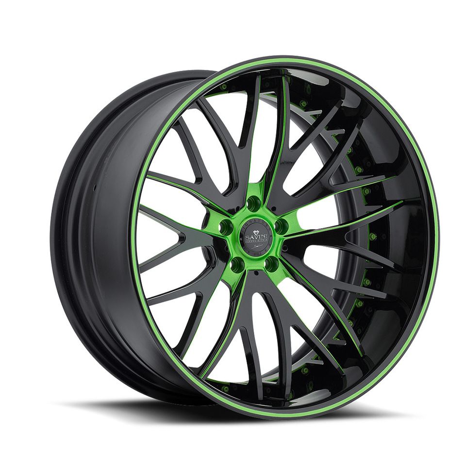 Savini Forged SV54c Black and Green XC Wheels