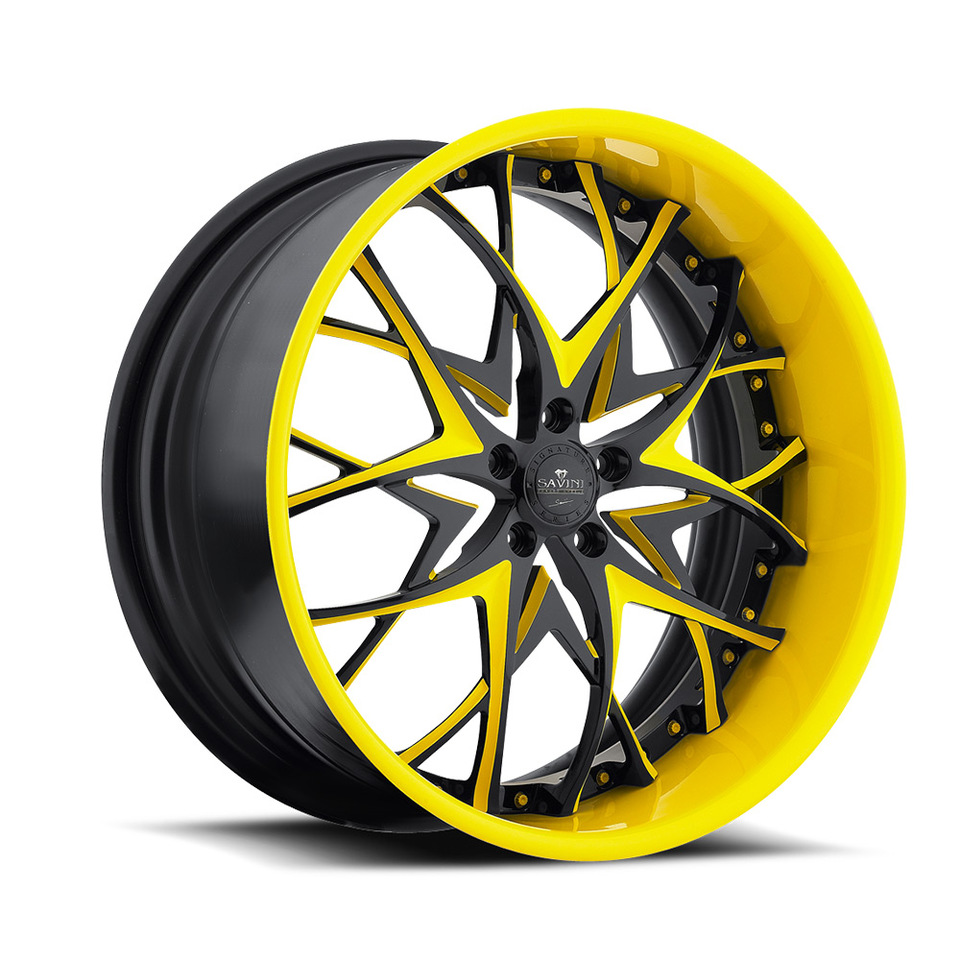 Savini Forged SV57s Black and Yellow XLT Wheels