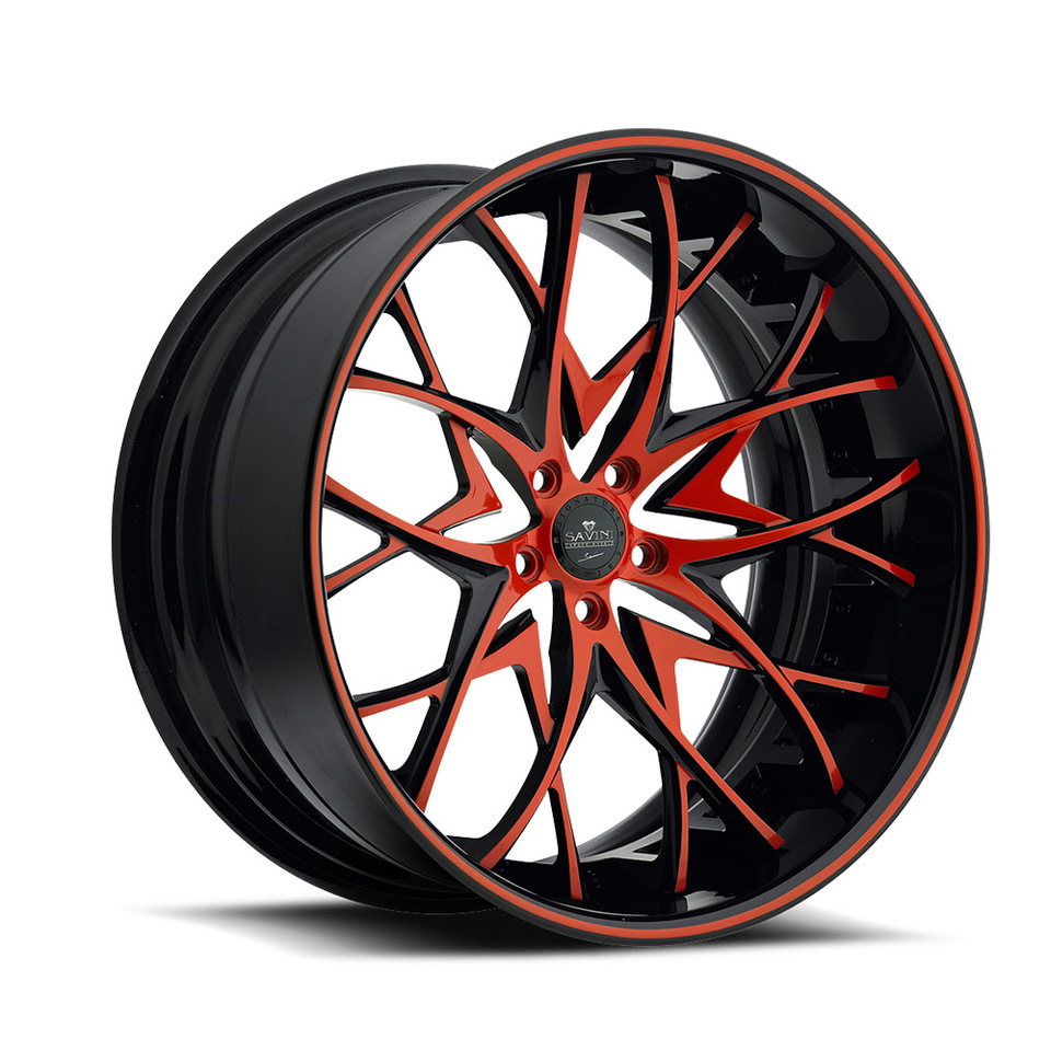 Savini Forged SV57c Red and Black XC Wheels