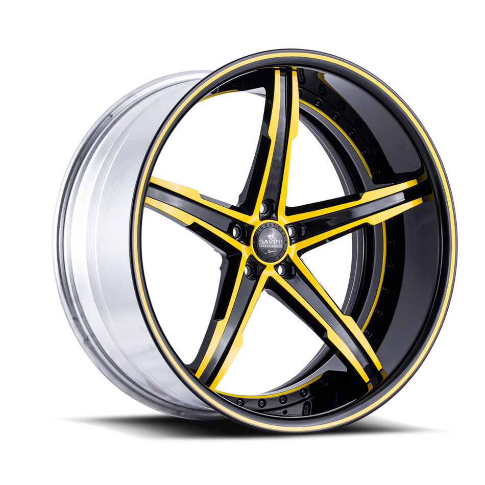 Savini Forged SV59 Wheels - Black and Yellow Custom Finish