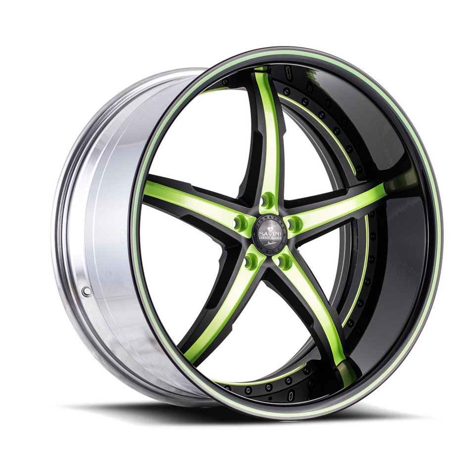 Savini Forged SV59 Wheels - Green and Black Custom Finish