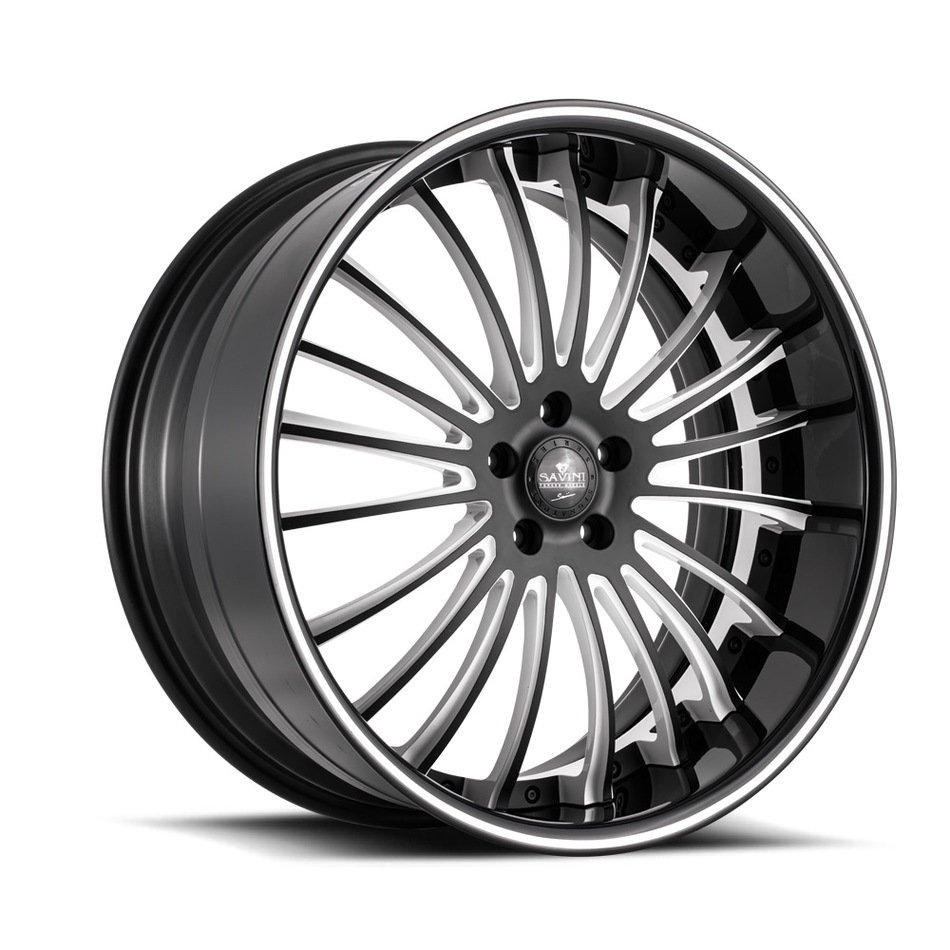Savini Forged SV61 Wheels - Matte Black and White Custom Finish