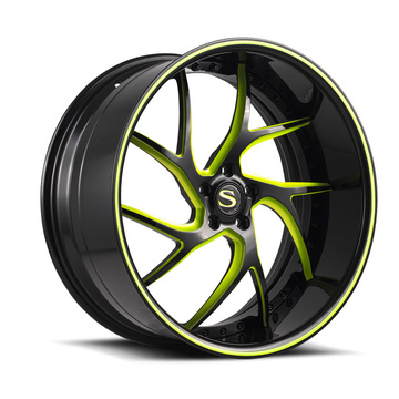 Savini Forged SV67 Black and Green Finish Wheels