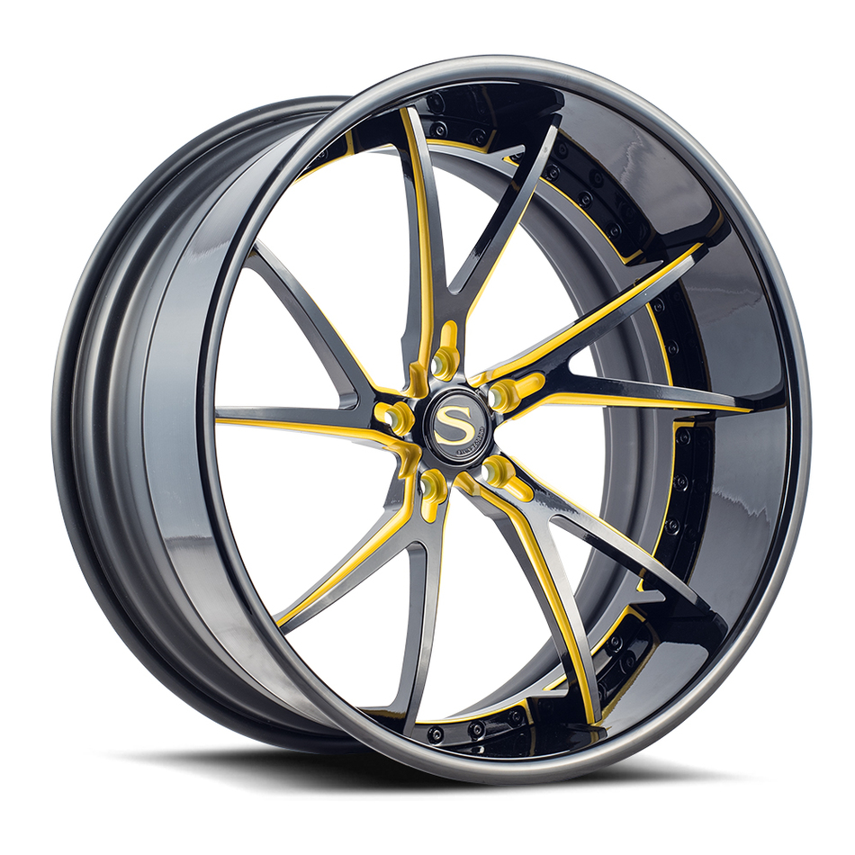Savini Forged SV68 Wheels Gloss Black with Yellow Accents Finish