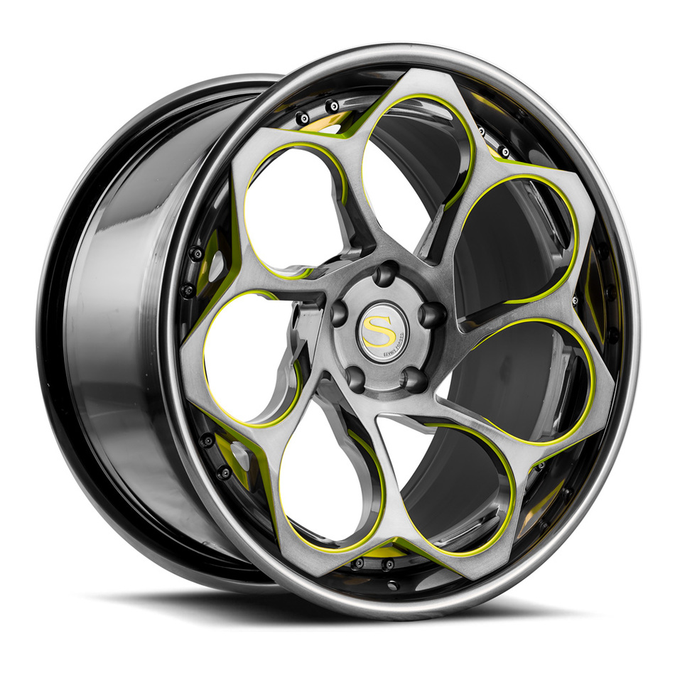 Savini Forged SV69 Wheels Double Dark Tint with Lime Green Accents Finish