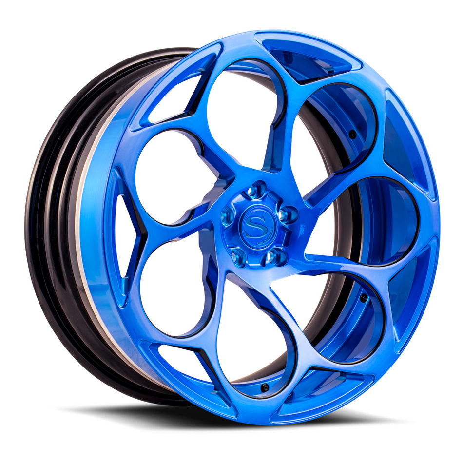 Savini Forged SV69 Wheels Brushed Blue with Black Accents Finish