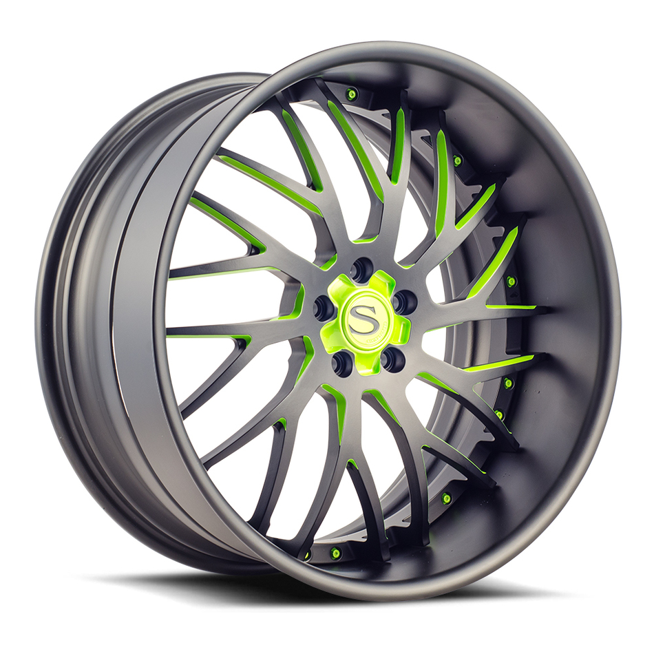 Savini Forged SV70 Wheels Matte Black with Green Accents Finish