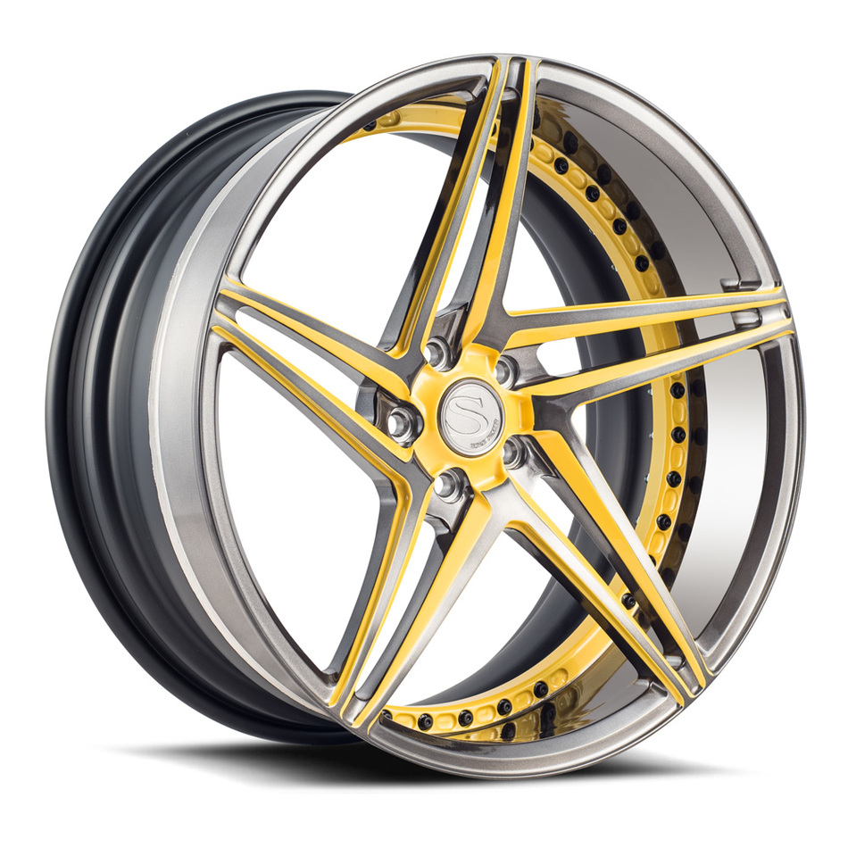 Savini Forged SV71 Wheels Double Dark Tint with Yellow Accents Finish