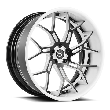 Savini Forged SV72 Wheels Gloss Black with White Accent Finish