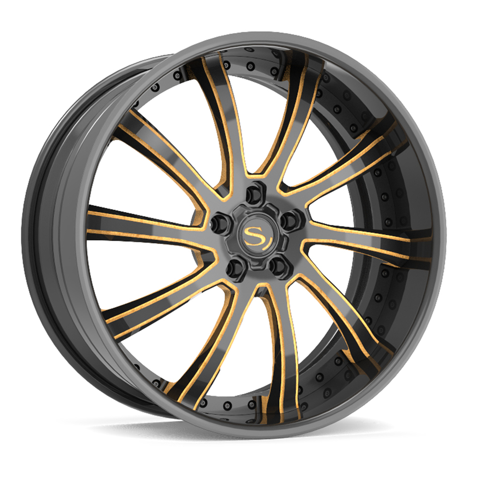 Savini Forged SV73 Wheels Gloss Black with Gold Accents Finish