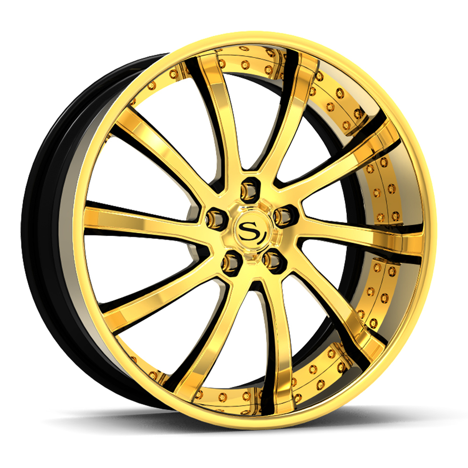 Savini Forged SV73 Wheels Gold with Black Accents Finish