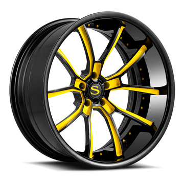 Savini Forged SV74 Wheels Gloss Black with Yellow Accents Finish