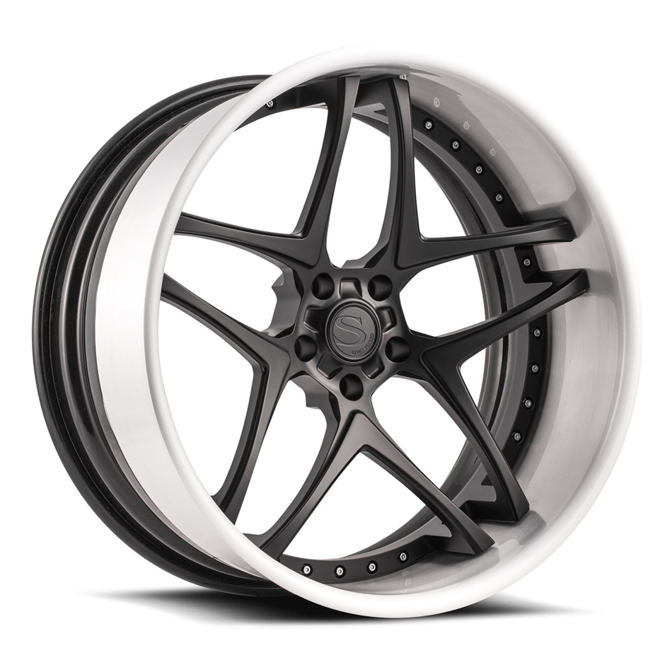 Savini Forged SV76 Wheels Matte Black with Brushed Lip Finish