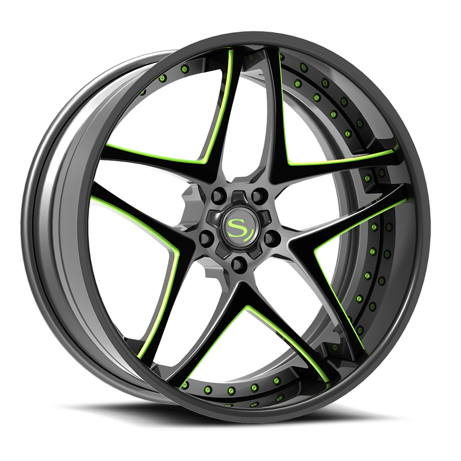 Savini Forged SV76 Wheels Gloss Black with Lime Green Accents Finish