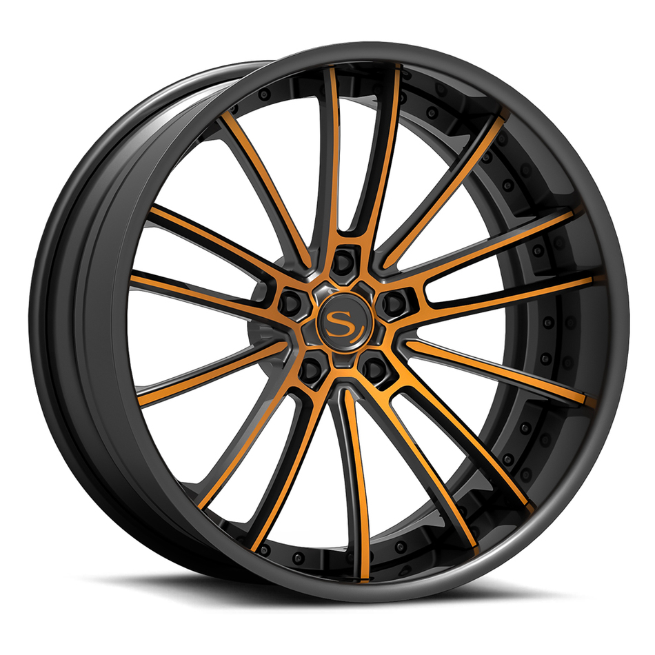 Savini Forged SV78 Wheels Black and Orange Custom Finish
