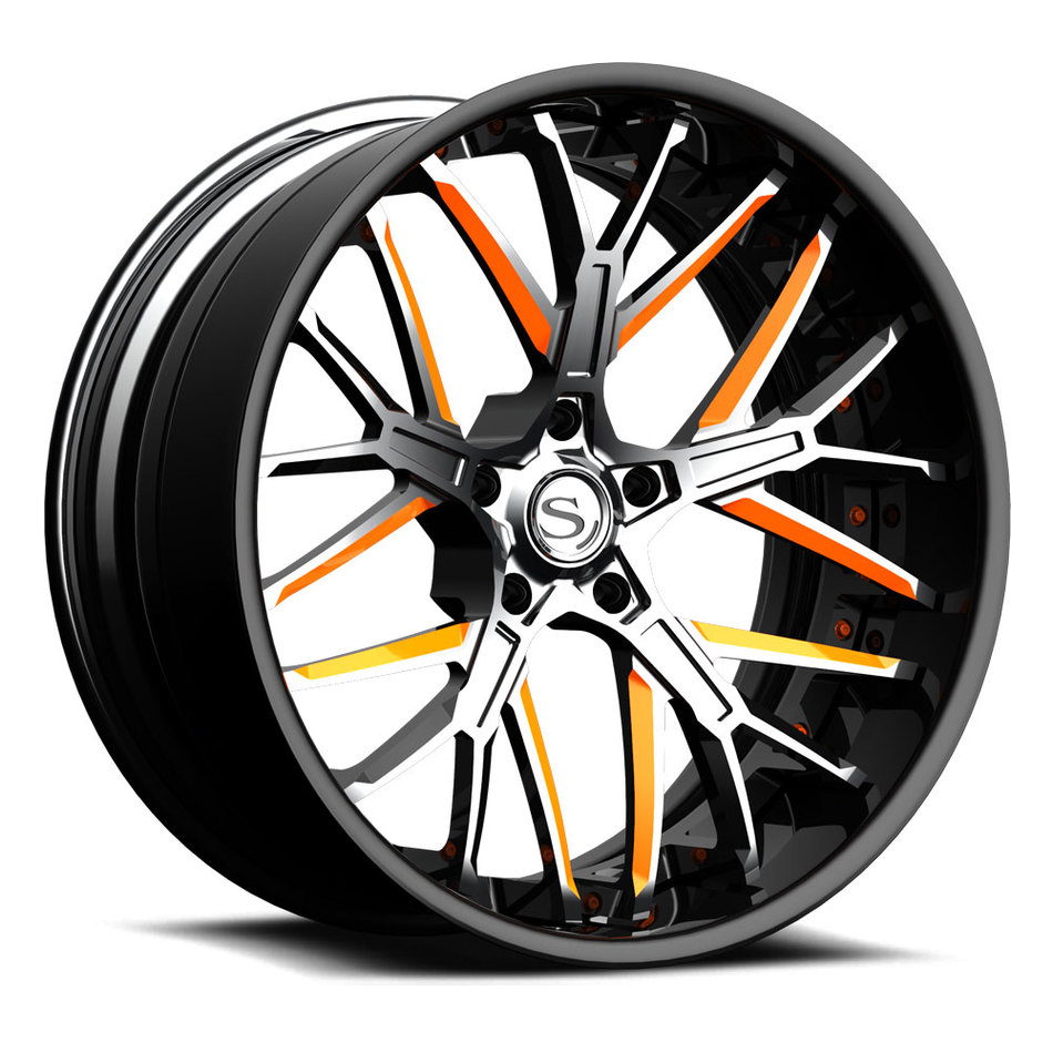 Savini Forged SV85 Wheels Custom Brushed with Orange Accents Finish