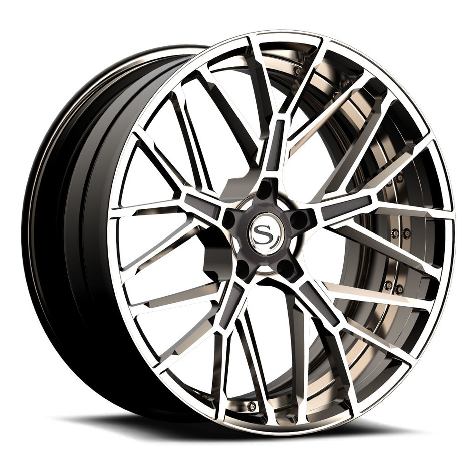 Savini Forged SV85 Wheels Custom Titanium Polished with Metallic Grey Finish
