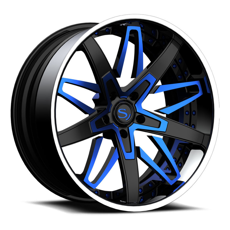 Savini Forged SV88 Wheels Custom Matte Black with Blue Accents Finish