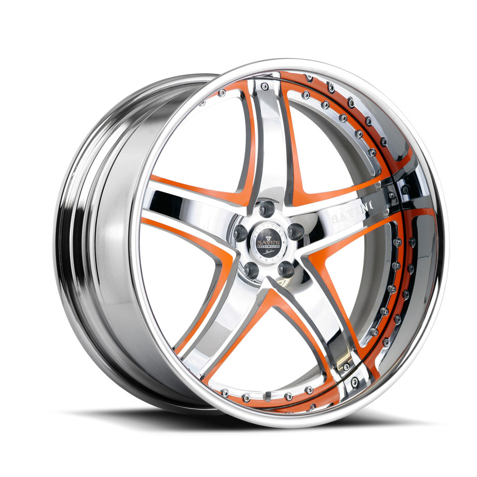 Savini Forged SV8 Chrome and Orange Signature Wheels
