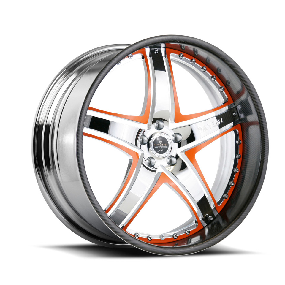 Savini Forged SV8 Chrome and Orange with Carbon Fiber Lip Signature Wheels
