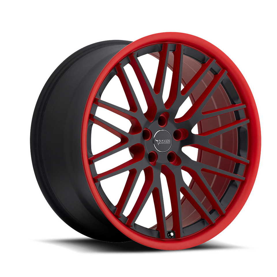 Savini Black di Forza BM4 Matte Black and Red Wheels