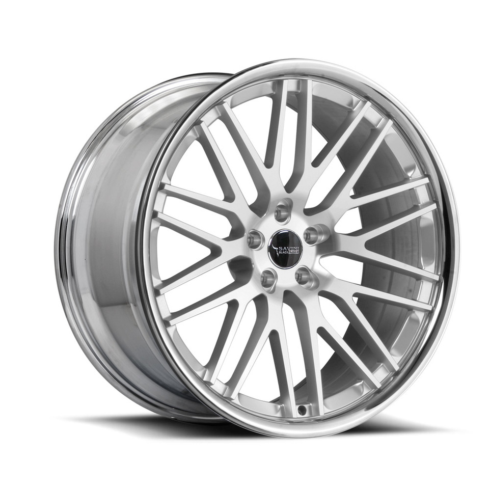 Savini Black di Forza BM4 Hyper Silver and Chrome Wheels