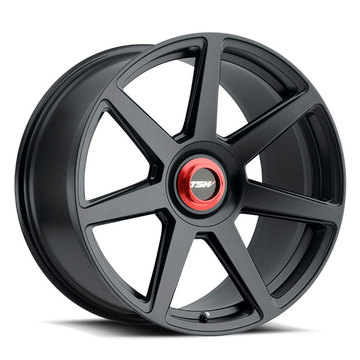 TSW Evo-T Matte Black with Red Locking Nut Wheels