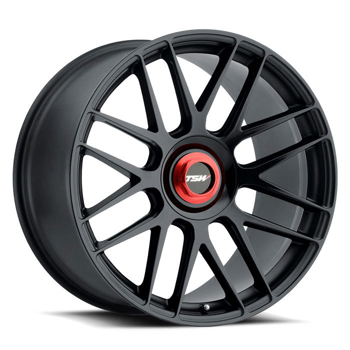 TSW Hockenheim-T Double Black with Ball Milled Spoke and Red Locking Nut Finish Wheels